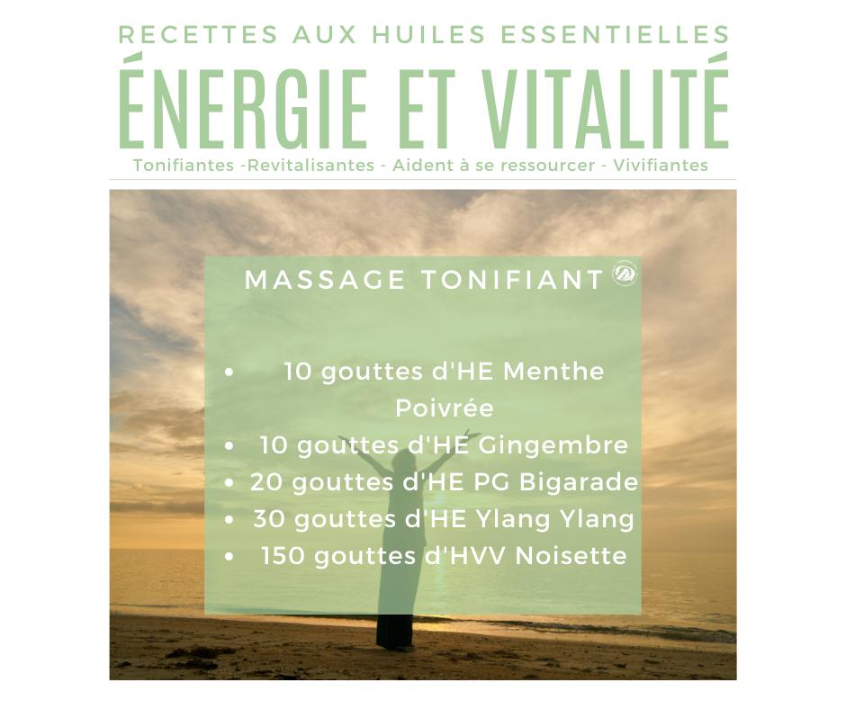 Recette huiles essentielles pour un massage tonifiant